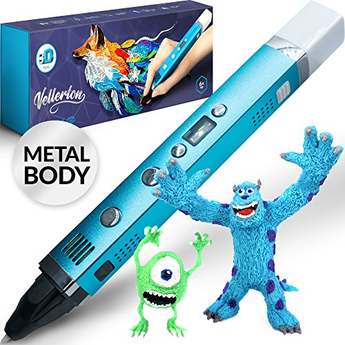 3D Pen for Kids - 3D Printing Pen set kit for girls boys teens adults - 3D Drawing Pencil – PLA ABS – original with display – cute gift box for art – best mini metal 3d pens starter pack case by Vellerton