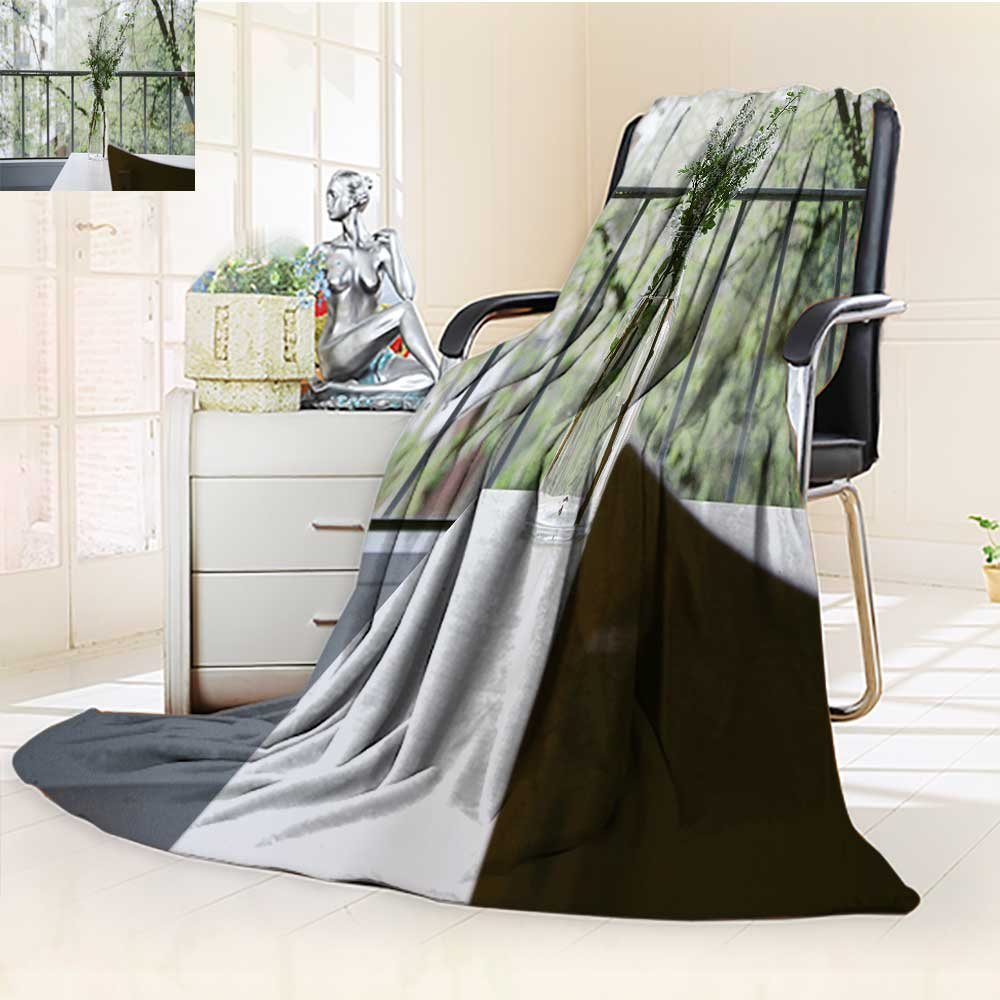 YOYI-HOME Duplex Printed Blanket Custom Design Cozy Fleece Blanket A Flower vase on The windowsill Warm Microfiber All Season Perfect for Couch Sofa/79 W by 59'' H