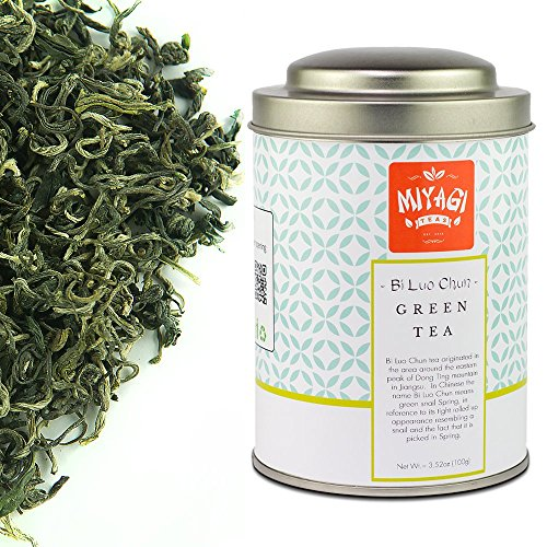 MIYAGI TEA - Bi Luo Chun - Premium Green Tea - Loose Leaf - 3.52oz (100g) / tin can