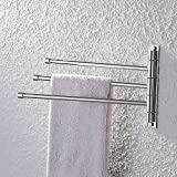 KES Bathroom Swing Arm Towel Bars 3-Arm Wall Mount Swing Out Towel Shelf, Polished SUS304 Stainless Steel, A2102S3