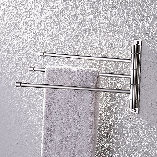 Price comparison product image KES Bathroom Swing Arm Towel Bars 3-Arm Wall Mount Swing Out Towel Shelf, Polished SUS304 Stainless Steel, A2102S3