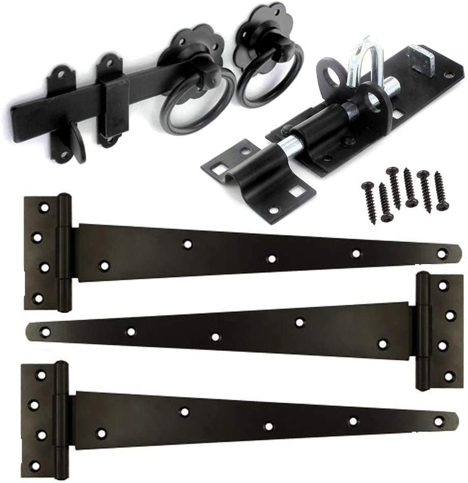 Gate Fitting Kit 18 Hinge Set Hinges Brenton Bolt Ring Latch Wooden Gate Black