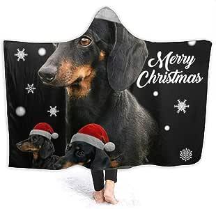 Amazon.com: Black Sausage Dog Christmas Cap Full Flannel ...