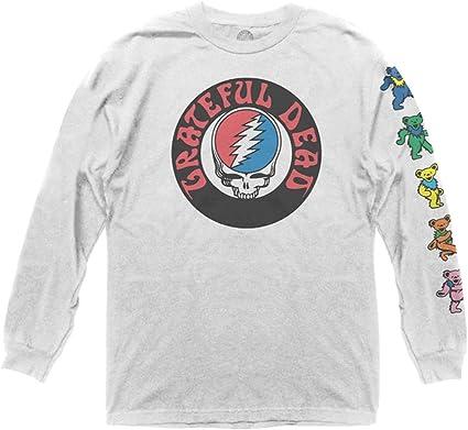 Ripple Junction Grateful Dead Logo Shirt with Dancing Bears, Long-Sleeve Adult Unisex Crew T-Shirt
