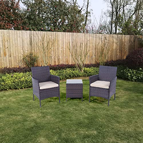 United Flame Cafe Sets 3 Pieces Outdoor Patio Furniture Sets Rattan Chair Wicker Set Backyard Porch Lawn Garden Balcony Furniture Set with Cushions and Glass Table All Weather RTA Furniture Sets