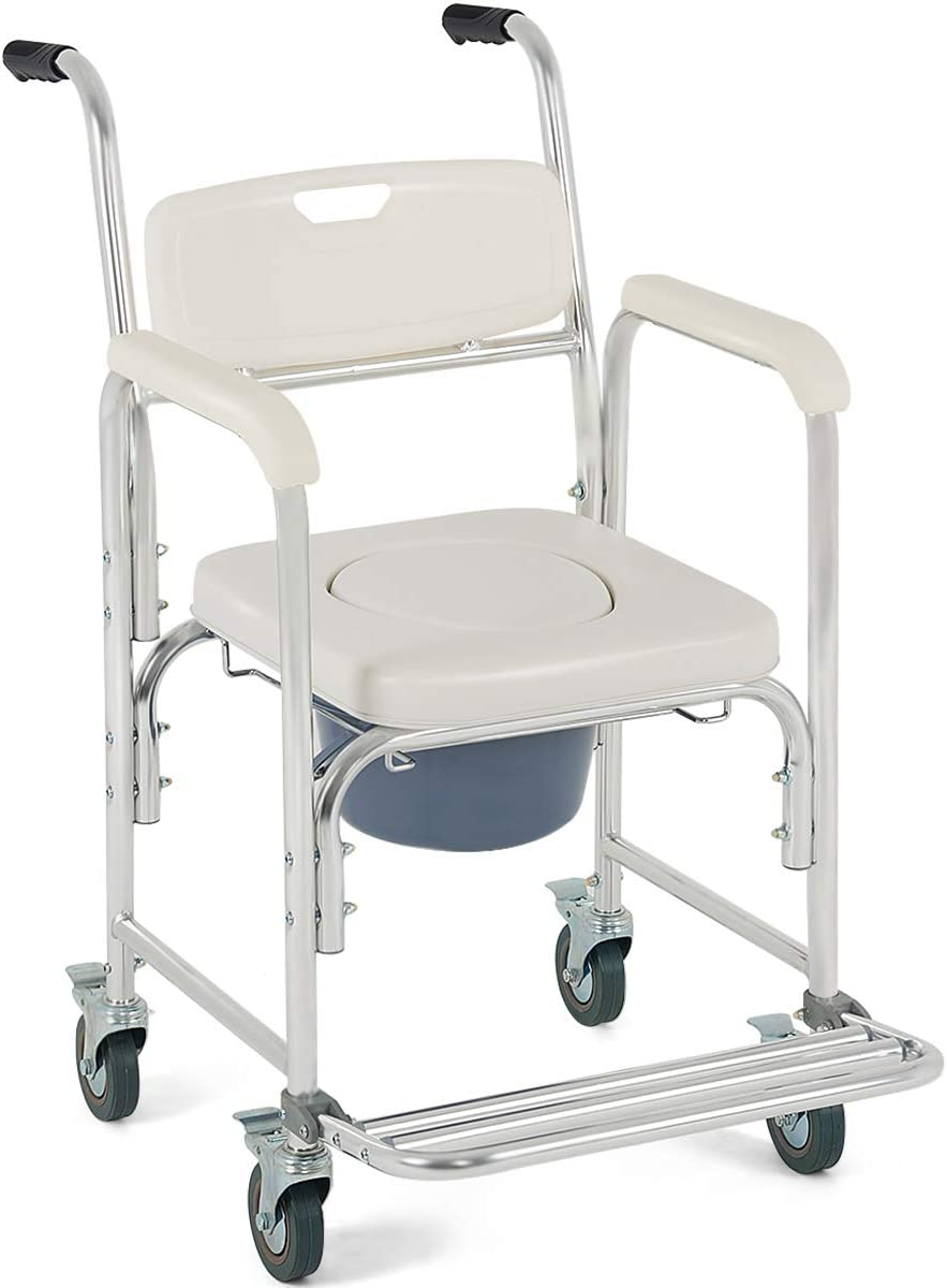 Giantex 4-in-4 Medical Transport Wheelchair Aluminum Bathroom Shower Chair,  Bedside Commode for Old People Patient, Locking Casters and Thick Padded