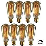 8 Pack Vintage Edison Bulbs, Squirrel Cage Long Life Filament Incandescent Antique Light Bulb for Home Light Fixtures,Dimmable,ST64 E27/E26 Medium Base 110v 60W 370 Lumens 110V-130V.