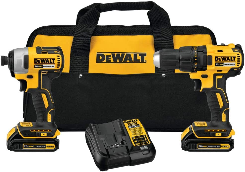Dewalt DCK277C2R 20V MAX 1.5 Ah Cordless Lithium-Ion Compact Brushless Drill and Impact Driver Combo Kit Renewed