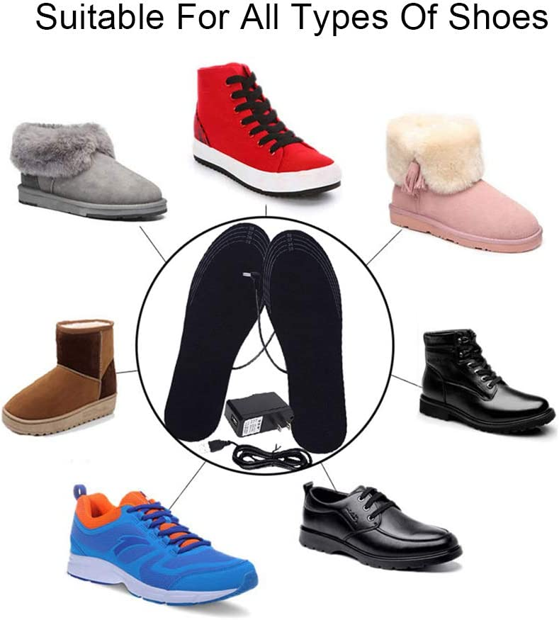 USB Rechargeable Heated Insoles Winter Heater Warmer Foot Heat Boots Shoes Pads
