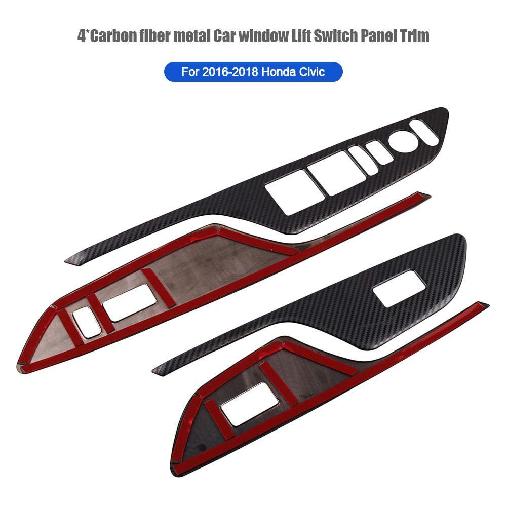 AITOCO 4pcs Carbon Fensterheber Schalter Rahmen Panel L/ünette Dekor Abdeckung Trim Aufkleber Aufkleber f/ür Honda Civic 10 schwarz