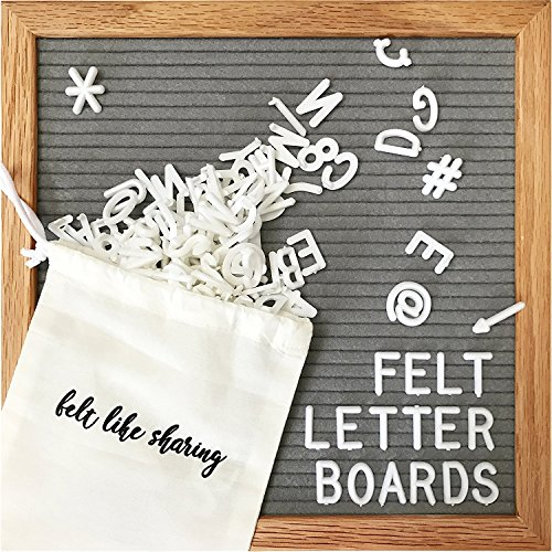 Gray Felt Letter Board 10x10 Inches. Changeable Letter Boards Include 300 White Plastic Letters & Oak Frame.