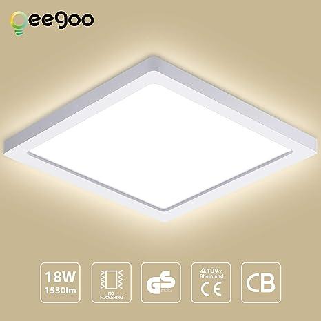 Oeegoo LED Lámpara de techo, 18W 1530LM Plafón de techo Redonda, 21*21*1.3cm Ultrafino, para Cocina Dormitorio Sala de estar Comedor Balcón Blanco ...