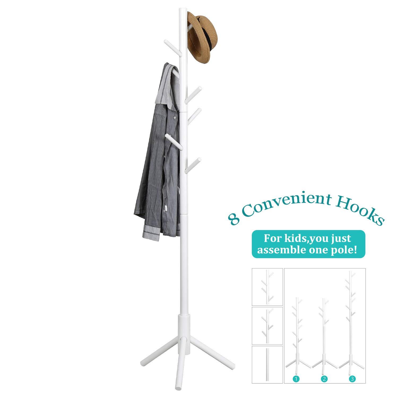 Sturdy Coat Rack Stand-Coat Hat Tree Coat Hanger Holder Stand for Clothes,Scarves,Handbags,Umbrella- 8 Hooks,Gray