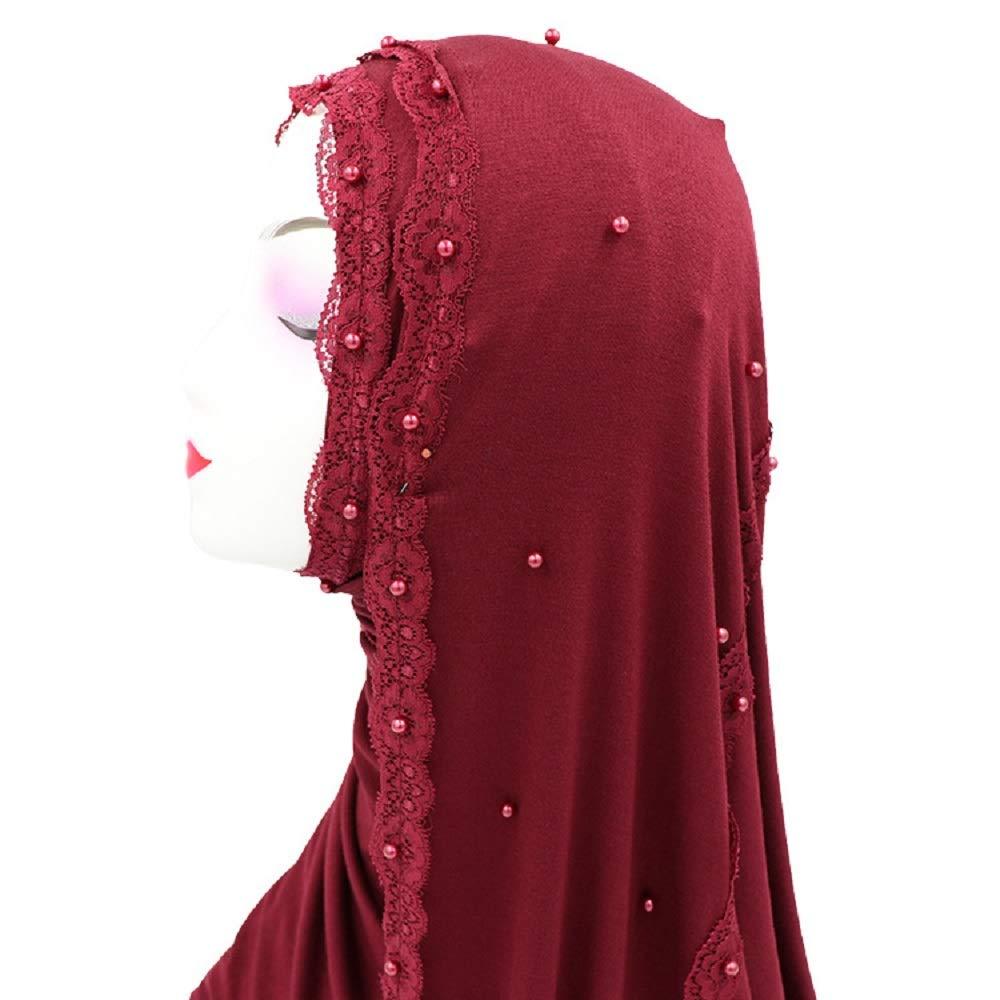 Yaleagzss Muslim Lace With Beads Mercerized Cotton Hijab Color 1