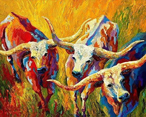 Art Prints on Canvas Animal Painting for Home Decoration, Texas Longhorn Pattern, 40x32 Inch (Texas Longhorns Pattern)