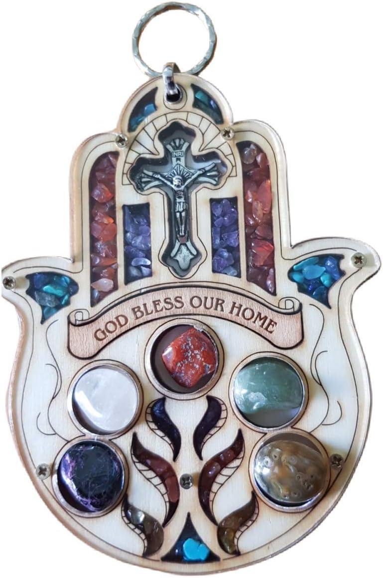 Bluenoemi Hamsa Home Blessing, Hamsa House Blessing, Home Decor Spiritual, Hamsa Hand Gifts, Home Blessing Plaque, Christian Gift Cross Hamsa