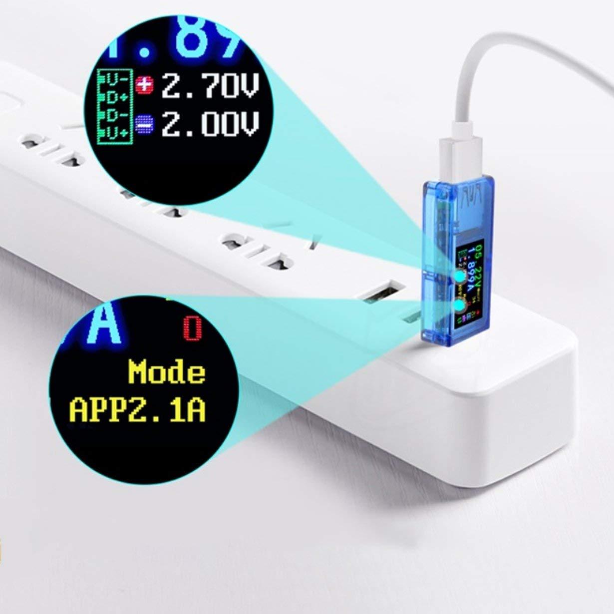 bleu AT34 USB3.0 IPS HD /écran couleur USB Tension testeur Capacit/é courant d/énergie Puissance imp/édance /équivalente testeur de temp/érature