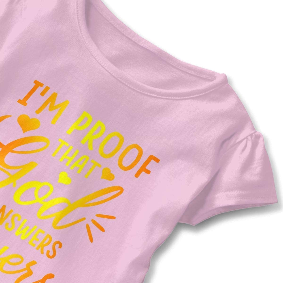 Toddler Girls Comfy Short Sleeve T-Shirt Im Proof That God Answers Prayers Girls Top
