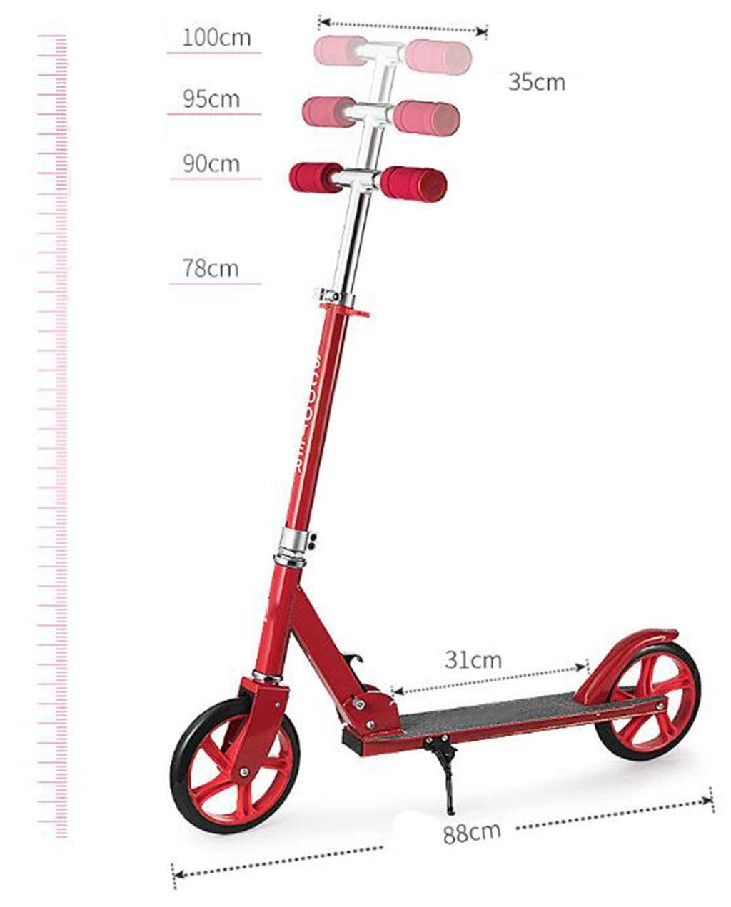 JBHURF Children's Scooter, Student Pedal Scooter, Two-Wheeled Children's Scooter with one-Second Folding Function, Adjustable Height Scooter for Children Over 8 Years Old (Color : Pink) by JBHURF (Image #2)