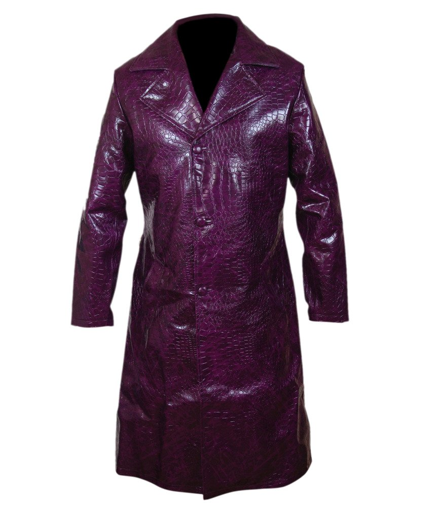F&H Men's Suicide Squad Jared Leto Joker Purple Long Coat L Purple