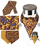 Men's Luxury 100% Silk Cravat Self Tie Woven Ascot Printed with Gift Box