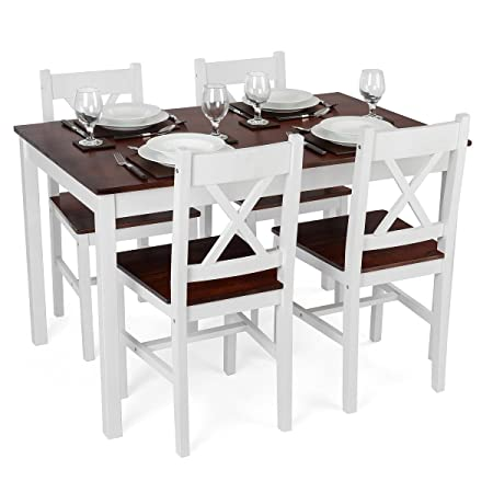 White Wooden Dining Room Table 4 Chairs Set Pine Wood Dark Stained Top Christow