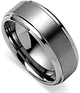 King Will BASIC Menu0027s Tungsten Carbide Ring 8mm Polished Beveled Edge Matte  Brushed Finish Center Wedding