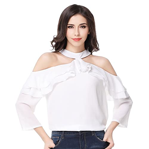 Glorria Women Chiffon Halter Ruffles Off the Shoulder Three Quarter Sleeve Blouses Summer Sexy Casua...