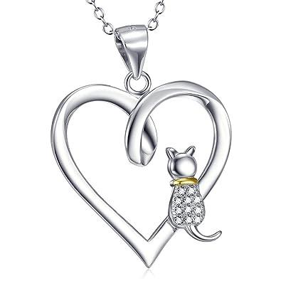 AieniD Mujeres Regalo 925 Sterling Plata Collar para Mujeres Dos Tonos Gato: Amazon.es: Joyería
