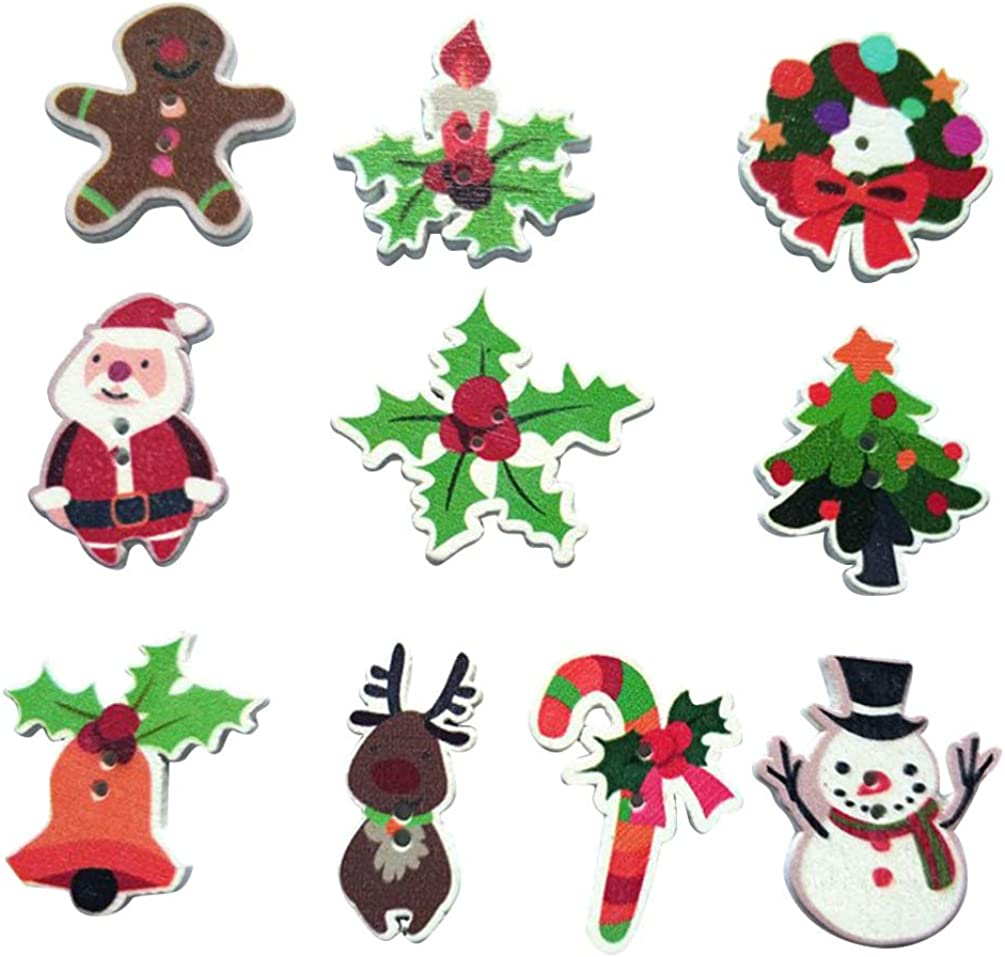 Natural Wooden Buttons 2 Holes DIY Clothing Sewing Accessories Christams Tree
