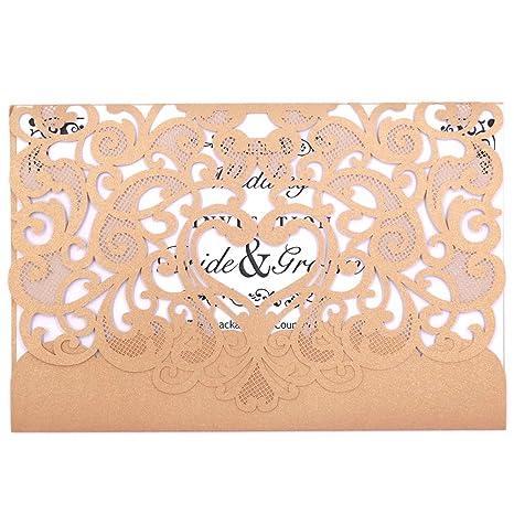 Amazon Com Wedding Invitation Card 50 Pack Fomtor Laser Cut