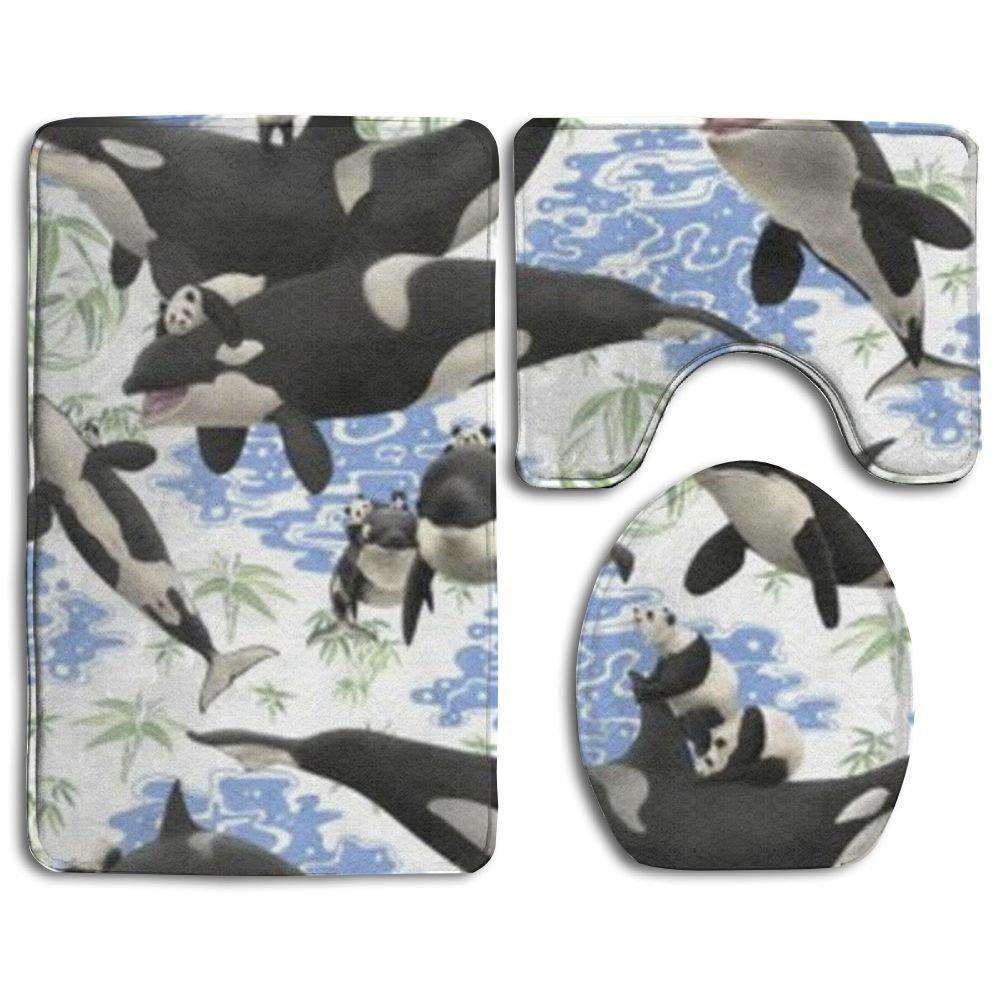 HOMESTORES Whale Panda Art Funny Animal Underwater Theme Floral Design Bath Mat Bathroom Carpet Rug Washable Non-Slip 3 Piece Bathroom Mat Set