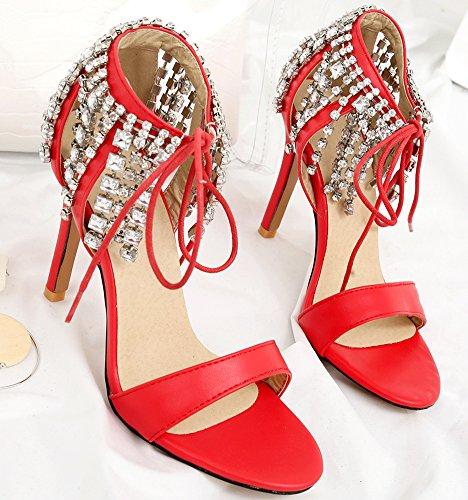Chaussures Elégant Rouge Strass Mariage Stiletto Sandales 10cm Femme Aisun Franges pour 1qWYSf6