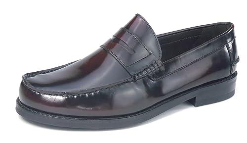 Jones Bootmaker - Mocasines de 100 % piel para hombre rojo granate: Amazon.es: Zapatos y complementos
