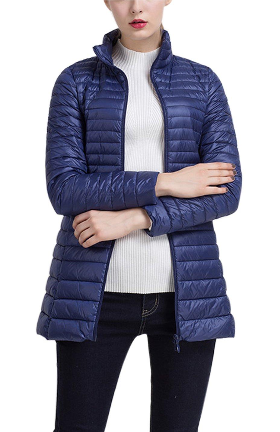 Gihuo Women's Packable Ultralight Long Puffer Jacket Coat Windbreaker (X-Large, Navy)