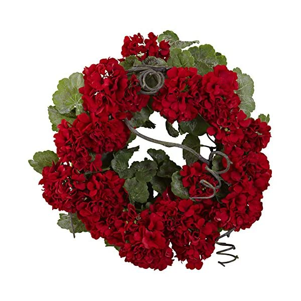 Nearly-Natural-4986-Geranium-Wreath-17-Inch