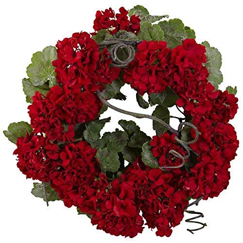 Nearly Natural 4986 Geranium Wreath, ()