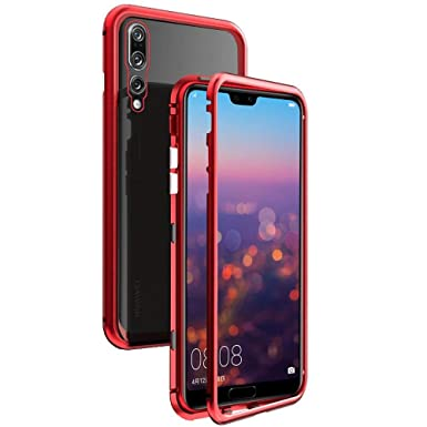 wholesale dealer 94f0d 6bf0f QLTYPRI Huawei P20 pro Magnetic Case, Magnetic Metal Frame Case Aluminum 9H  Tempered Glass Back Cover [NO Front Tempered Glass] [Support Wireless ...