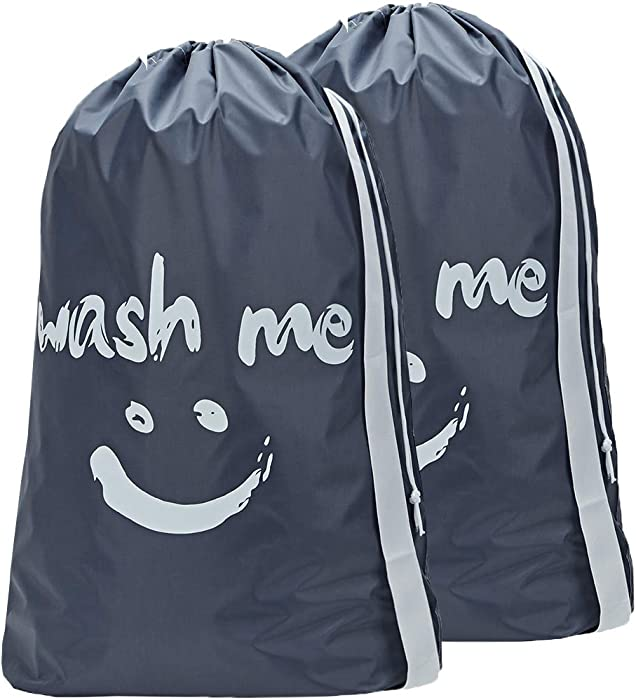 HOMEST 2 Pack Travel Laundry Bag with Strap, 28 x 40 Inches Wash Me Drawstring Dirty Clothes Bag, Large Hamper Liner, Rip-Stop Nylon, Machine Washable, Grey