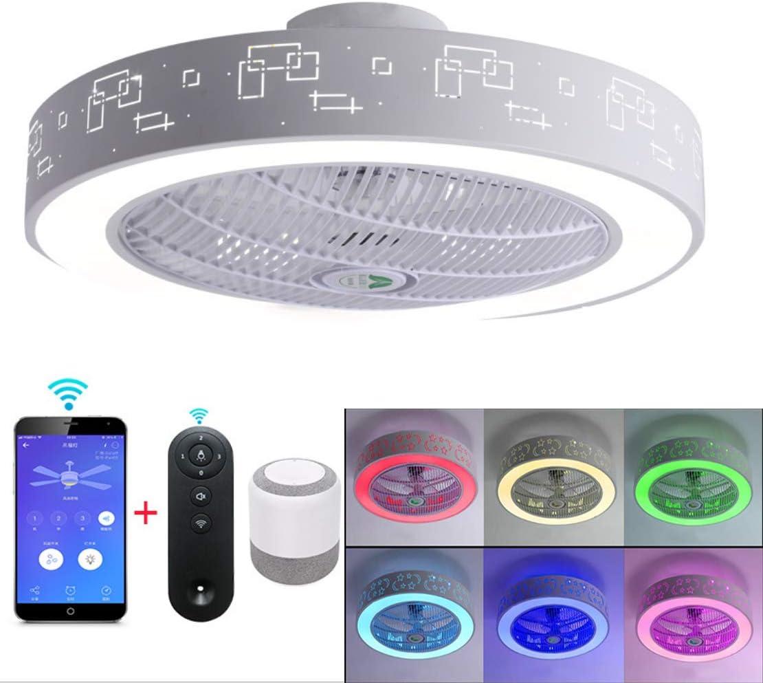 Luz de techo LED con doble altavoz musical Bluetooth, ventilador retráctil de 4 aspas y control remoto, lámpara araña moda simple para el hogar, luces estrellas iluminación fiestas familiares,1