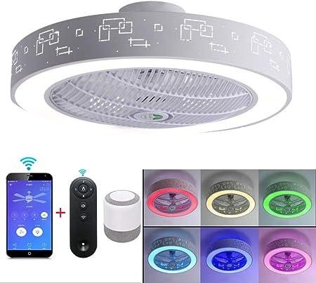 Luz de techo LED con doble altavoz musical Bluetooth, ventilador ...