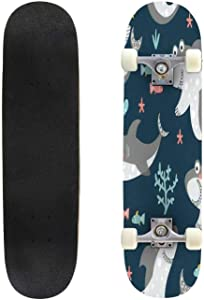 Classic Concave Skateboard Colored Shark Mascot with Title Vector Illustration Longboard Maple Deck Extreme Sports and Outdoors Double Kick Trick for Beginners and Professionals