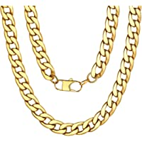 5/9/12/15mm Men's Women's Round Curb Cuban Chain Necklace,Smooth 18K Gold/Black/Silver Tone Color Chain Necklace Link,46,51,56,61,66,71,76cm(Providing Personalized Engrave Service)