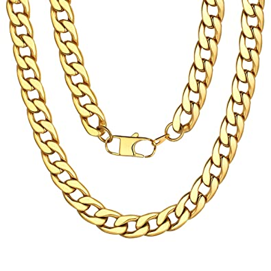 87d75aaed00 ChainsPro 5/9/12/15mm Men's Women's Round Curb Cuban Chain Necklace,Smooth  18K Gold/Black/Silver Tone Color Chain Necklace Link,46,51,56,61,66,71 ...