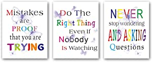 3 Set - Colorful Butterfly Inspirational Phrases Quotes Art Print,Motivational Words Quote Wall Art Poster,Canvas Painting for Office Kids Room Home Decor,Gift.(Unframed,8