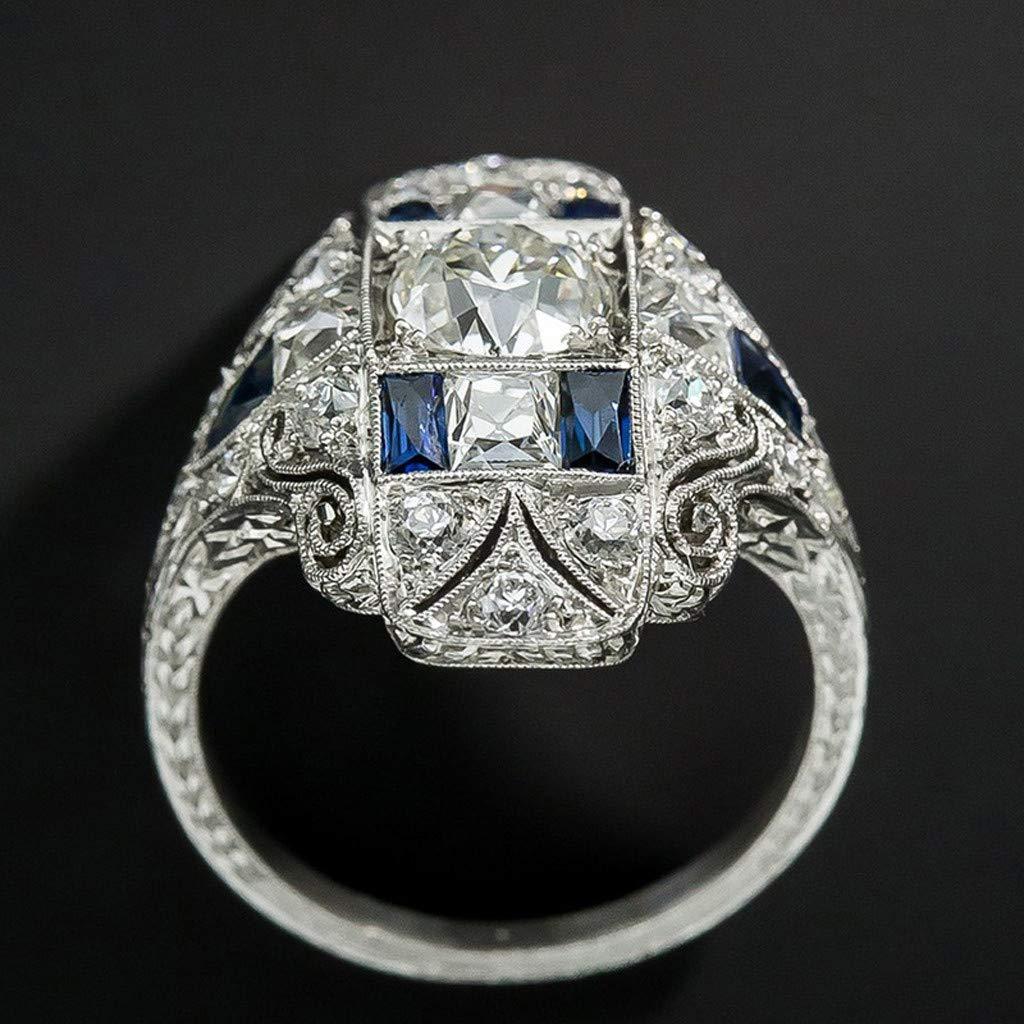 Haluoo Crystal Rhinestones Engagement Wedding Band Sparkling 925 Sterling Silver Created Gemstone Aquamarine Sapphire Statement Promise Rings Tanzanite Topaz Sapphire Ring Hollow Ring