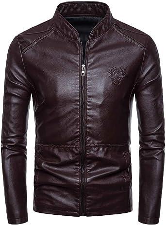 Men Leather Jacket Beautyfine Autumn Winter Biker Motorcycle Zipper Casual Outwear Coat