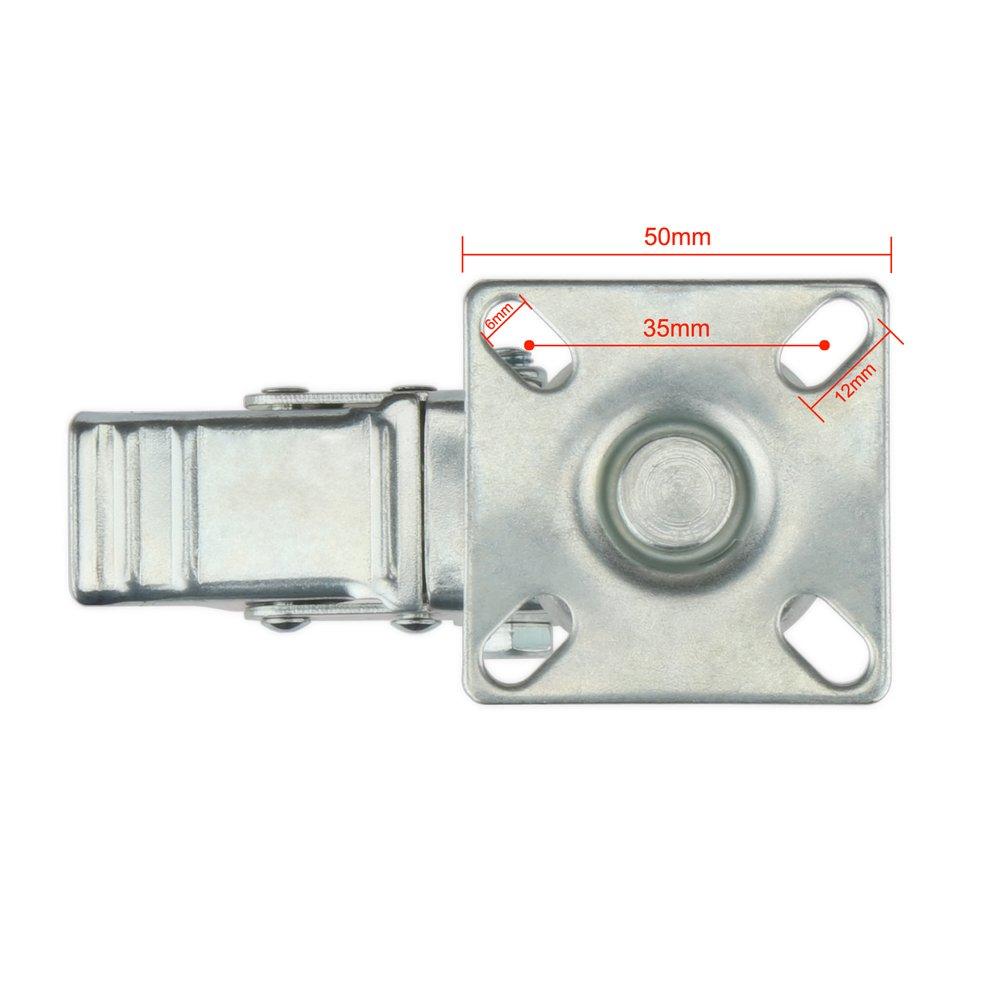 H/&S Roulettes de frein pivotantes en caoutchouc robuste 50 mm