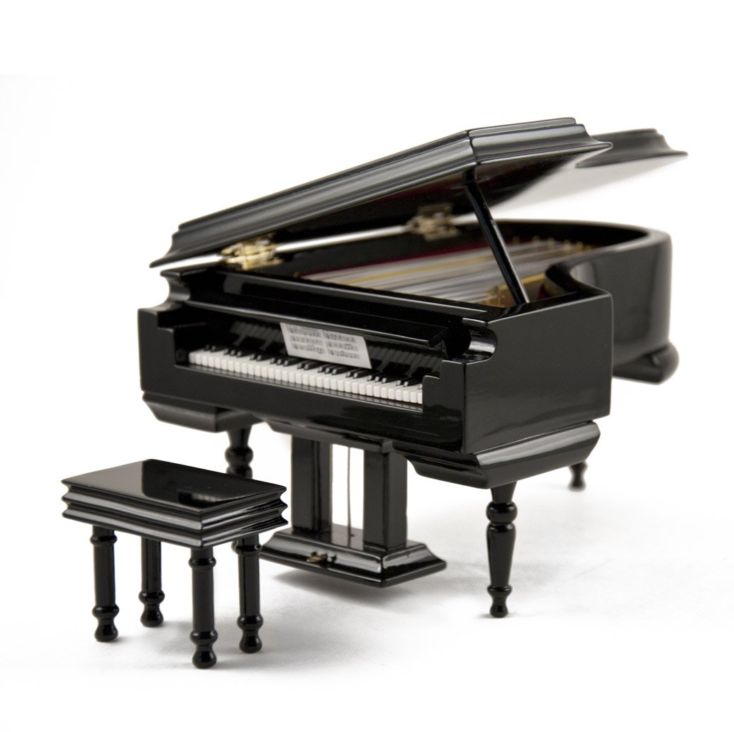 Amazing 18 Note Miniature Musical Hi-Gloss Black Grand Piano With Bench - On the Wings of Love - SWISS (+$45)
