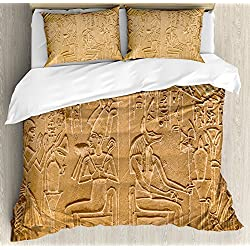 Ambesonne Egyptian Duvet Cover Set King Size, Egyptian Hieroglyphs on The Wall Stone Surface Scripts Ancient Arts Theme Image, Decorative 3 Piece Bedding Set with 2 Pillow Shams, Pale Brown
